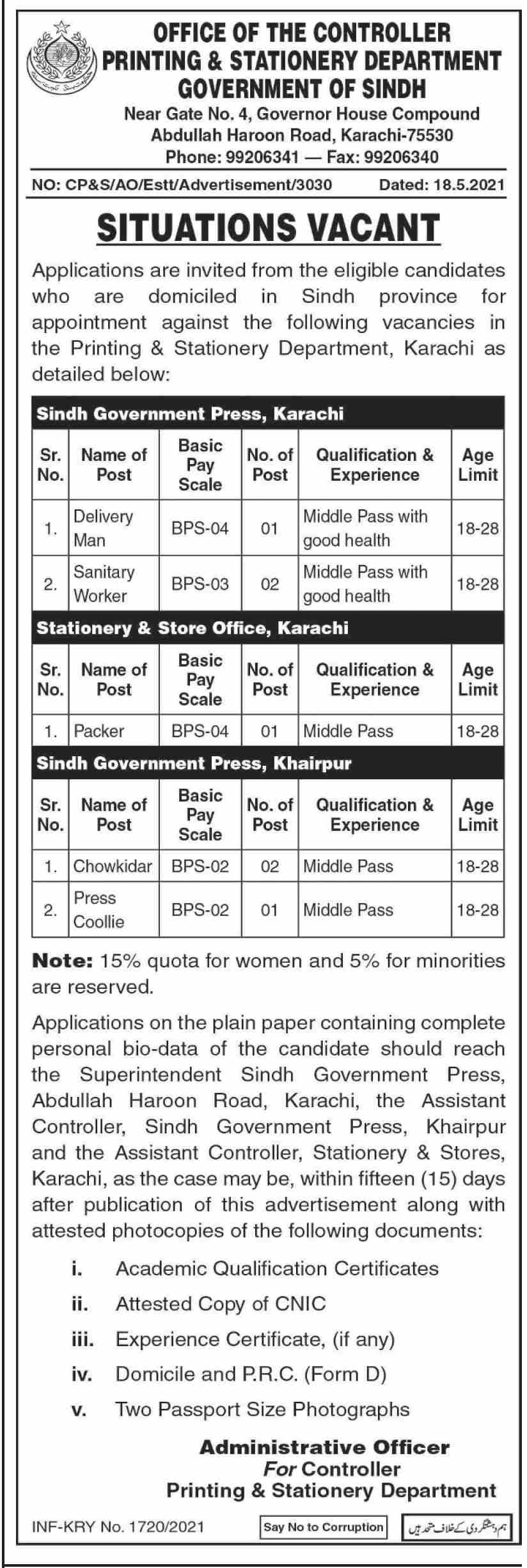 Sindh Printing and Stationery Department Jobs 2021 Advertisement